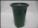Bonsai Pot, Round (T), 9cm, Green (Dark), Glazed